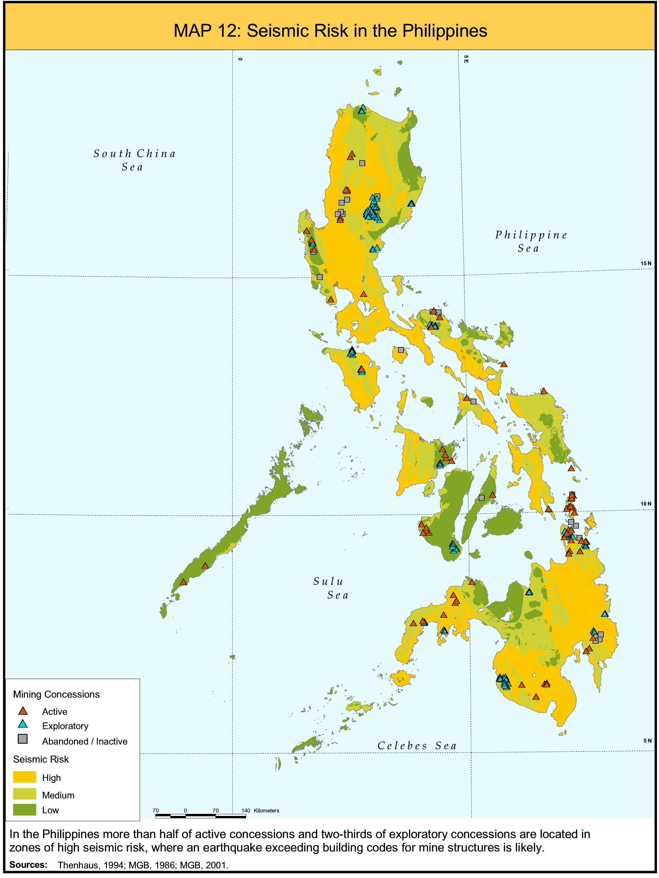 Mining and critical ecosystems mapping the risks institute of map 12 seismic risk in the philippines 584kb publicscrutiny Images