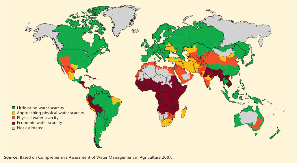 increasing water scarcity map
